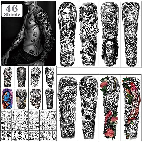 46 fogli grandi tatuaggi temporanei a braccio completo per uomini e donne, adesivi per tatuaggi finti impermeabili con fiore di drago manica per adulti o adolescenti sul corpo avambraccio