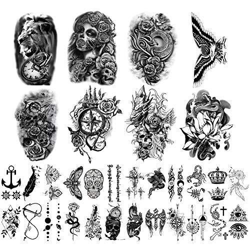 Adesivi per tatuaggi temporanei con 32 fogli, 8 fogli Tatuaggi con spalla sul petto per braccio falso per uomo Donna con 24 fogli Tatuaggi temporanei neri minuscoli.