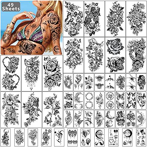 49 fogli fiore nero donna ragazza tatuaggio temporaneo impermeabile, 14 fogli grande mano gamba spalla adesivi tatuaggi temporanei e 35 fogli piccolo collo clavicola viso tatuaggio temporaneo