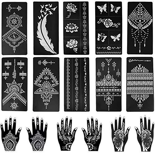 16 pezzi kit di stencil per tatuaggi all'henné, kit di modelli di tatuaggio temporaneo Mehndi arabo riutilizzabile per dito mano braccia corpo vernice arte fai da te
