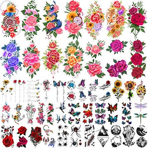 49 fogli tatuaggi temporanei per donne e uomini 3D kit di tatuaggi finti impermeabili extra grandi fiori impermeabili