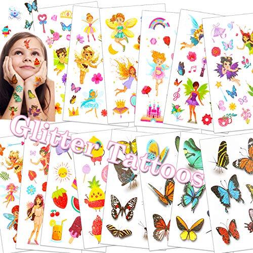 HOWAF Glitter Tatuaggi per bambini, flash tatuaggi temporanei fata/farfalla Tatuaggi Finti desivi tatuaggi bambina Giocattoli Gadget, ricompensa regalo Festa compleanno bambini ragazze, 14 Fogli