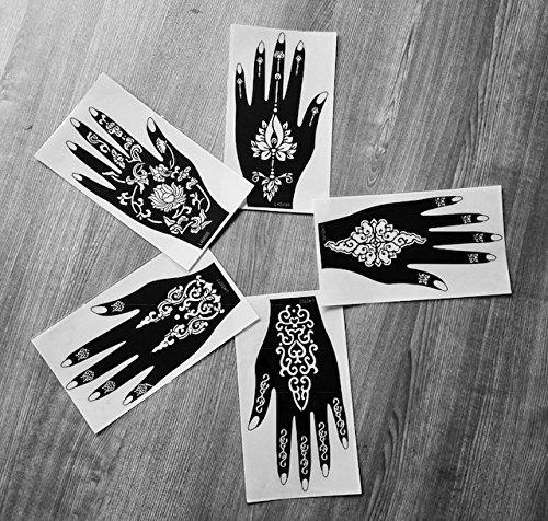 LAMINAU - Adesivi riutilizzabili per tatuaggi indiani e arabi, 5 pezzi