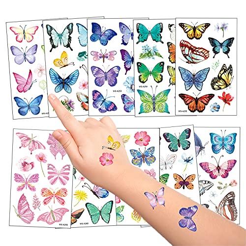 10 Fogli Farfalla Tatuaggi temporanei per Bambini, Impermeabile Finti Tatuaggio Tattoos Adesivi per Ragazza Bambini Festa di Compleanno Regalo