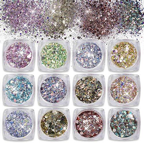 Glitter per Unghie Chunky Sparkle Glitter Paillette Scatole Glitter Set per Viso Corpo Capelli Nail art 12 Colori