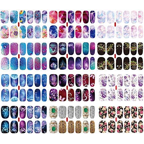 12 Fogli Adesivo Smalto per Unghie Copertura Completa Colorato Autoadesivo Punta Unghie Art Sticker Decalcomanie Manicure Fai da Te Decorazioni Strumenti