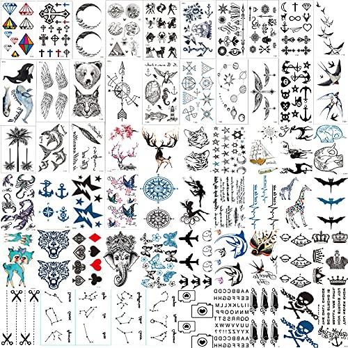 60 Adesivi Tatuaggio In Miniatura Impermeabili E Resistenti Al Sudore, Costellazione, Luna, Stelle, Bussola, Animali, Ancore, Animali Marini, Ecc., Per Bambini, Adulti, Uomini E Donne