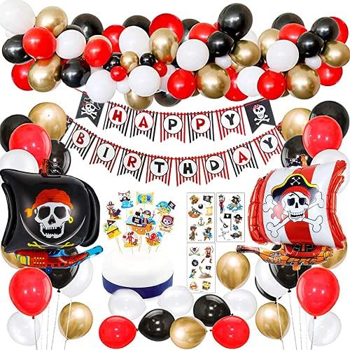 Decorazioni per Feste di Compleanno dei Pirati con Striscione per Tatuaggi Pirata Nave Pirata Palloncini per Bambini per Bambini Feste a Tema Pirata Forniture di Compleanno