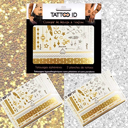Tattoo ID - Tatuaggio tribale dorato/argentato, temporaneo, ipoallergenico, prodotto in Francia 2fogli, da donna.
