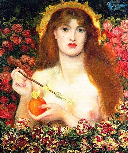JH Lacrocon Dante Gabriel Rossetti - Venus Verticordia Riproduzioni Quadro Stampa su Tela Arrotolata 50X60 cm - Dipinti Ritratto Preraffaellita Decorazione Parete