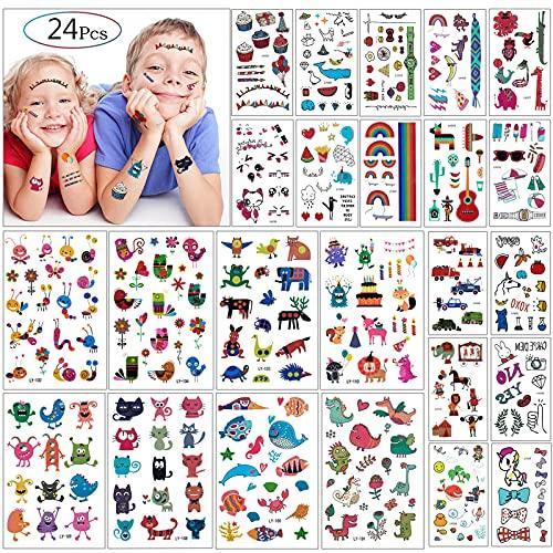 Tatuaggi Temporanei per Bambini Feste - MOOKLIN 24 fogli impermeabile tatuaggio temporaneo bambini festa di compleanno sacchetti regalo Giocattolo finto, più di 300 disegni