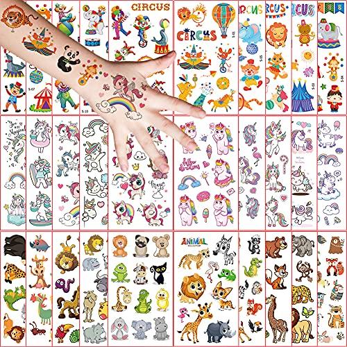 30 Fogli Tatuaggi Temporanei per Bambini, Tema Unicorno Animale Circo Tatuaggi Finti Impermeabili, Ragazzo Ragazza Adesivi Finti Compleanno Festa Giochi Decorazione Regalini Gadget Giocattoli
