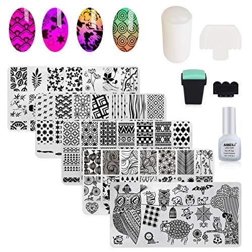 AIMEILI 5pcs Nail Art Stamping Piatti + 2 Timbro + 2 Raschietti + 1 Liquid Latex, Disegni Unghie Stampini Stencil Unghie Set Piastre per Unghie e Timbro Stamper Scraper Piatti Templates