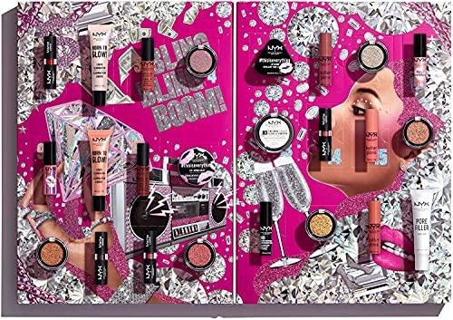 NYX Professional Makeup Idea Regalo Calendario dell'Avvento Collezione Natale Diamonds&Ice, Please! Set da 24 pezzi Per Occhi, Viso e Labbra