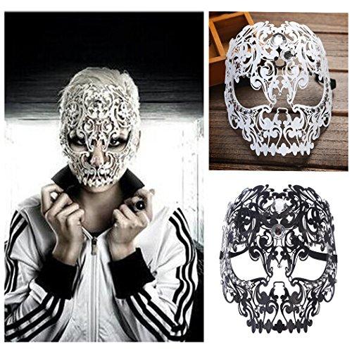 FunPa Maschera Carnevale, Maschere Veneziane Eye Mask Sexy Masquerade Mask Maschera Metallo Maschera Teschio Donna