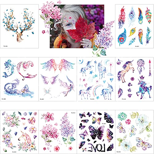 Tatuaggi per Bambini,10 Fogli Unicorno Adesivi Tatuaggi per Ragazza,Farfalla Blumen Tatuaggi Temporanei,Tatuaggi Glitter per Bambini,Impermeabile Tatuaggio Ragazza,Tatuaggio Decorazione Regalini