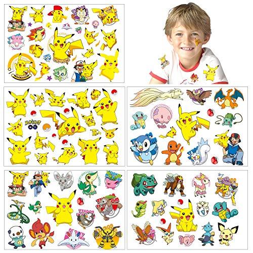 Pokemon Tatuaggi temporanei adesivi per la pelle (oltre 100 disegni), compleanno per ragazzi ragazze materiale scolastico per bambini, oggetti di scena per feste, adesivi per bambini regali