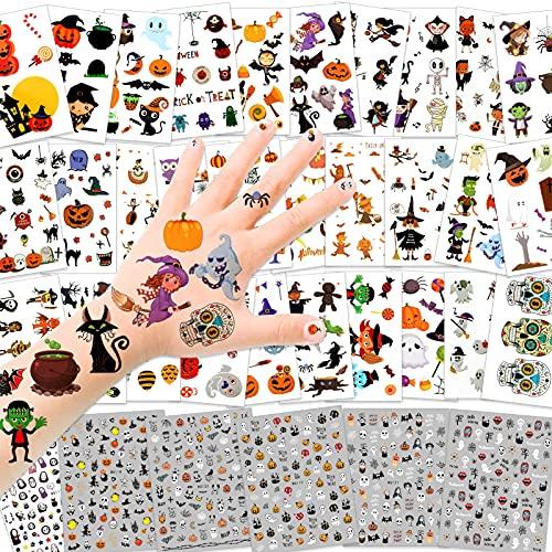 HOWAF 36 fogli Halloween Tatuaggi Temporanei Unghie Stickers per Bambini, Halloween Tatuaggi Adesivi 3D Nail Art Decalcomanie per Bambini Halloween Body Art Trucco Travestimento Accessori