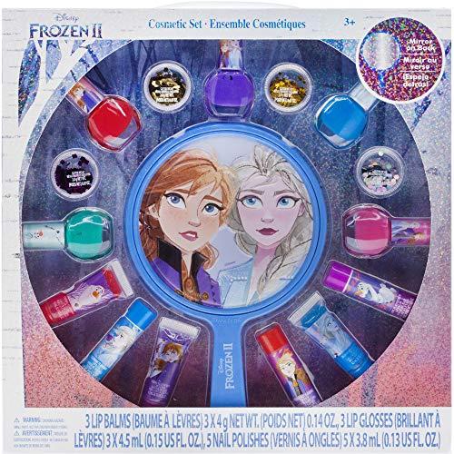 Disney Frozen 2 - Set di smalti per unghie non tossici, lucidalabbra e specchietti Townley Girl per bambine, dai 3 anni in su (16 pezzi) perfetti per feste, pigiama party e makeover