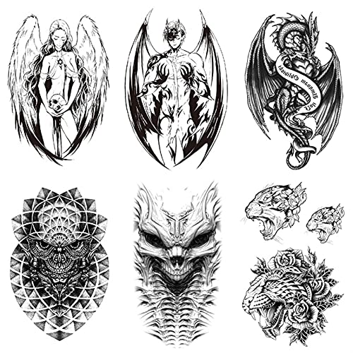 JuZi Store Adesivi di Tatuaggio temporaneo di Modo,Realistico Demone Angel Wings Adesivi del Tatuaggio temporaneo,Adatto for Uomini e Donne,Tatuaggi for Adulti Corpo Artistico Corpo