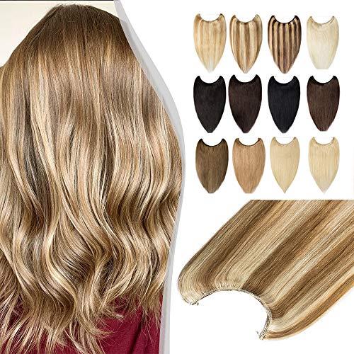 Elailite Extension Capelli Veri Invisibile con Filo Trasparente senza Clip 100% Remy Human Hair Balayage 50cm 70g #12 Marrone Chiaro mix #613 Biondo