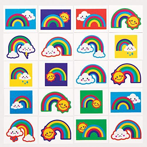 Baker Ross AT973 Tatuaggi Arcobaleno, per borse da festa per bambini e piccoli giocattoli per bambini (confezione da 60), assortiti