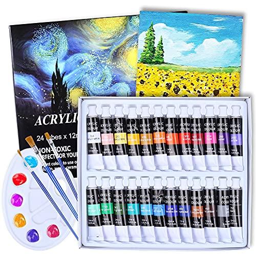 Aottom 24 Colori Acrilici Per Dipingere (24 x 12 ml) Pittura Colori Acrilici Professional Colori Ad Olio Per Pittura per Artisti 3 Pennelli 1 Tavolozza Principianti o Bambini(28 Pezzi)