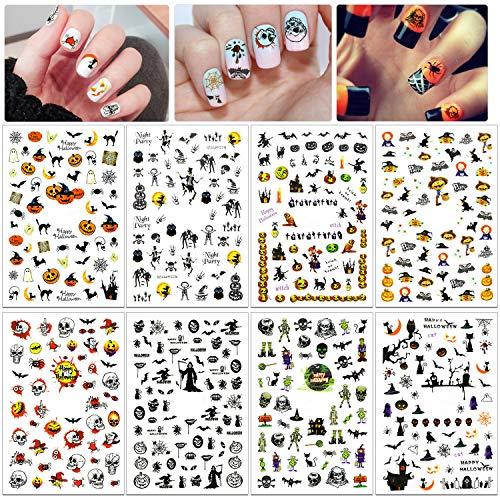 HOWAF 700 + pezzi Halloween Adesivi Unghie 3D Nail Stickers Adesivi Cranio Pipistrello Ragnatela Decalcomanie Decorazione Unghie Fai da Te Attrezzatura Arte Unghie Autoadesivi per donne Bambini