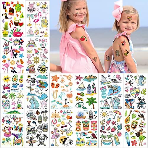 Qpout Tatuaggio Temporaneo Hawaiano,160 Tatuaggi a Tema Tropicale Assortiti,Adesivi Per Piscina Estiva Sulla Spiaggia Per Bambini e Adulti,Sacchetti Regalo Bomboniere Per Feste Forniture Decorative