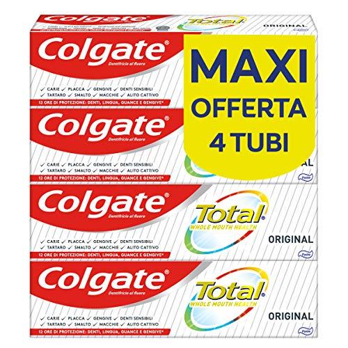 Colgate Dentifricio con Ingredienti Antibatterici Total Original, per la Protezione di Denti, Lingua, Guance e Gengive, 4 x 75 ml