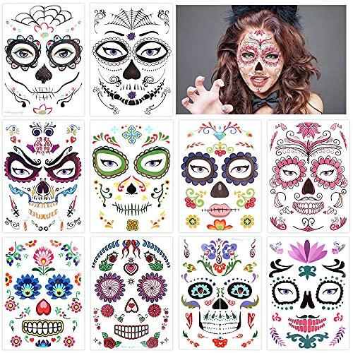 10 pezzi di tatuaggi temporanei per il viso di Halloween, adesivi per il trucco del viso, tatuaggi per il trucco, tatuaggi con teschi per il giorno dei morti e danza in costume per feste in maschera