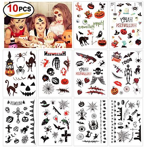 Howaf Halloween finti tatuaggi temporanei per bambini, 180 simpatici disegni tatuaggi temporaneo adesivi per bambini festa di Halloween sacchetti regalo - Vampiro zucca pipistrelli Mostro strega Skull