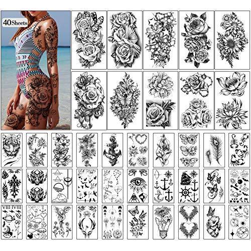Tatuaggi temporanei 40 fogli Fiori grandi Collezione di tatuaggi finti Adesivi temporanei impermeabili per bambini, donne o ragazze, regali e decorazioni