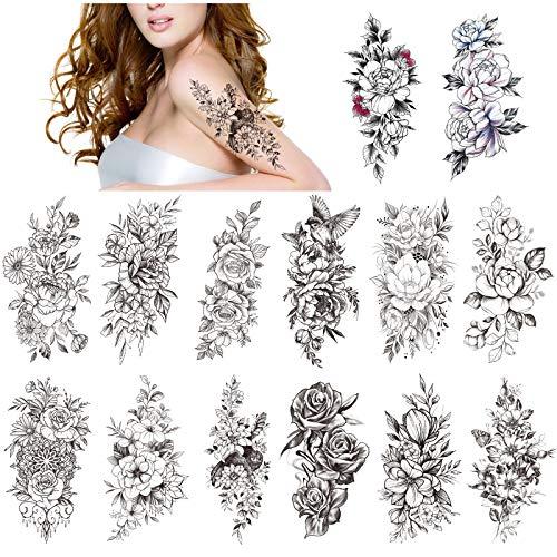 HOWAF 14 fogli grande peonia rosa tatuaggio temporaneo adesivi braccio flora impermeabile nero tatuaggi temporanei donne adulti ragazze sexy tatuaggi finti tatoo temporanei