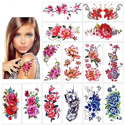 Konsait 14 fogli tatuaggi temporanei per donne, ragazze, adulti, rosa fiore impermeabile tatuaggio temporaneo tatuaggi finti body art sticker Cover Up Set