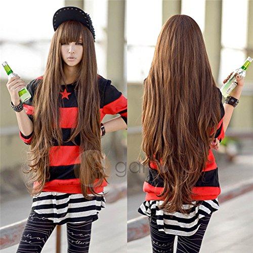 Parrucca con capelli lunghi di alta qualità, ondulati, con pony cosplay, marrone chiaro, 80 cm
