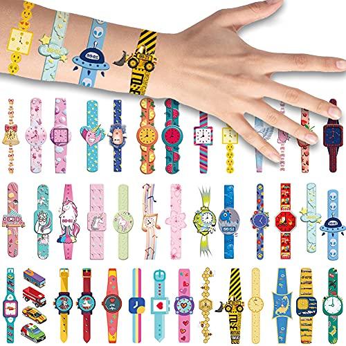 40x Cartone Animato Orologi da Polso Tatuaggi Temporanei per Bambini, Unicorno Orologi Braccialetto Tatuaggi Finti Arte del Corpo Adesivi Ragazze Ragazzi Festa di Compleanno Sacchetti Regalo