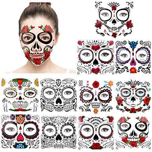 KonSait Halloween Tatuaggi Viso Temporanei (11 Fogli), Cranio Floreale Nero Scheletro Web Rose Rosse Viso Temporaneo Tattoos Adesivi per Donna Uomo Adulto Bambini Halloween Party Trucco