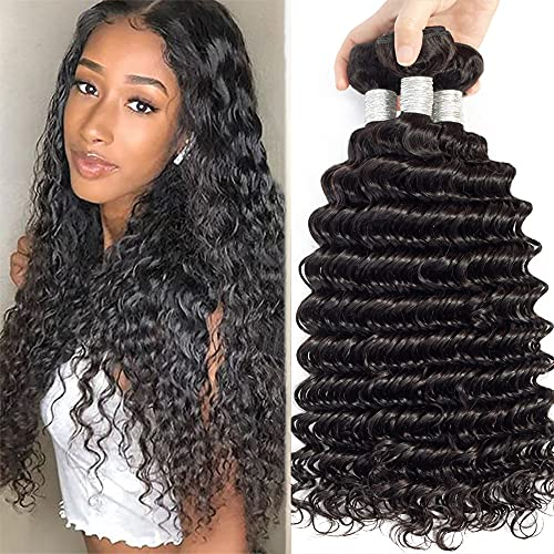 "BLISSHAIR Brasiliani Veri capelli umani onda profonda Bundles con Chiusura per donna 100% unprocessed Vergine Human Hair 3 Bundles colore naturale 14"""