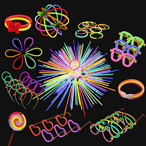 Yidaxing Braccialetti Luminosi, 440 PCS Glow Sticks Bagliore Colorato Bastoni Bulk con Connettori per Farfalla e Collana Bagliore Gadget Compleanno Fluo Party