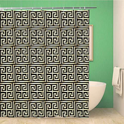 Awowee Decor - Tenda da doccia astratta con motivo a chiave greca d'oro, stile antico e geometrico, 180 x 200 cm, in tessuto di poliestere, impermeabile, con ganci per il bagno