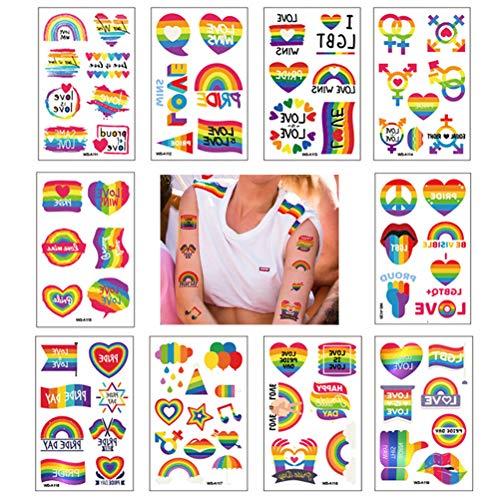LifeBest Pride Rainbow Tattoos Adesivi Arcobaleno Tatuaggi temporanei Adesivi per Il Corpo Impermeabili Colori per Decalcomanie per Pride Parades e Celebrazioni