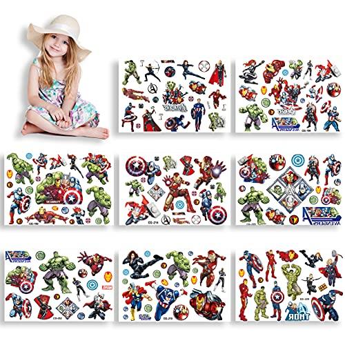 HONGECB Tatuaggi temporanei per bambini, Adesivi per Tatuaggi, Tatoo Finto per Bambini, per bambini Ragazzi festa di compleanno sacchetti regalo Giocattolo, 8 Sheet, Avengers