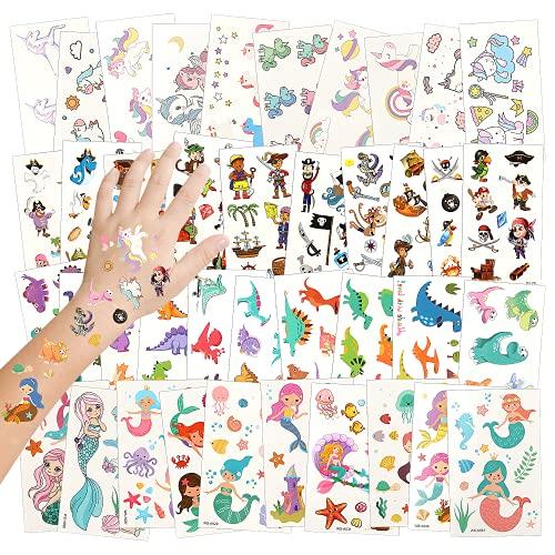 Tatuaggi Temporanei per Bambini, 40 Fogli Tatuaggi per Bambini, Tatuaggi Bambini Tatuaggi Adesivi Impermeabili, Tatuaggi Flash per Bambini, Tatuaggi Set Unicorns, Dinosaurs, Pirates and Mermaids (40)
