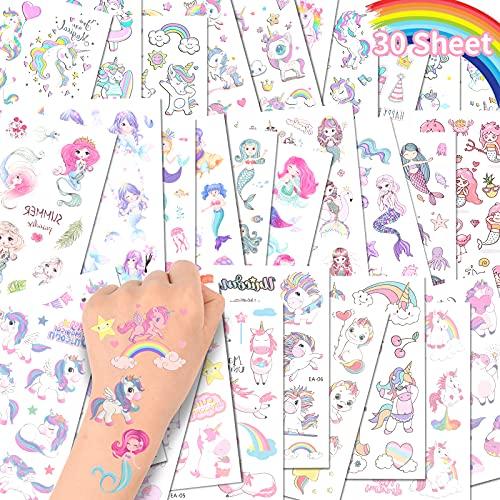 ACWOO Tatuaggi Temporanei per Bambini, Tatuaggi Finti per Ragazze Ragazzi, 20 Fogli Unicorno e 10 Fogli Sirena Tatuaggi Temporanei Set, Giocattoli Gadget per Ragazza Bambini Adulti Festa Compleann