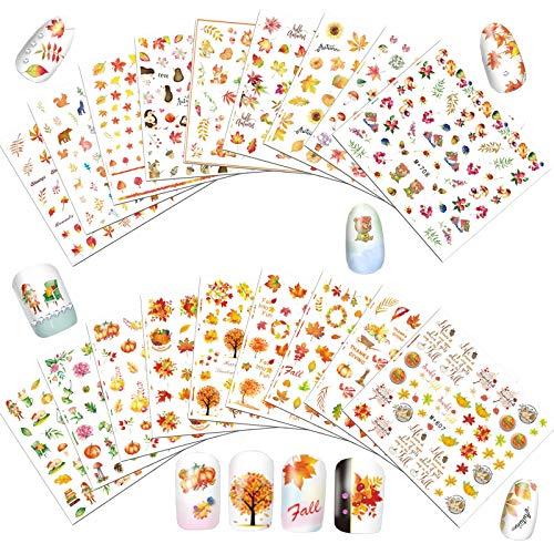 18 Fogli Autunno Foglie di Acero Nail Stickers 3D Decalcomanie di Adesivi per Unghie Caduta Nail Decal Non tossico, per Nail Art DIY, Custodia per Cellulare, Cartoline, Album di Ritagli, Natale