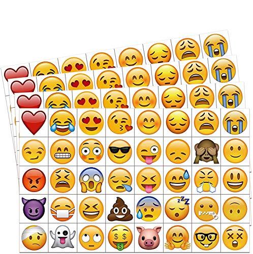 KonSait Emoji Tatuaggi temporanei per Bambini Adulti (160pcs 2pollice), Impermeabile Tatuaggi temporaneo Adesivi Sorridenti Giocattoli per Bambini Adulti Donna Uomo