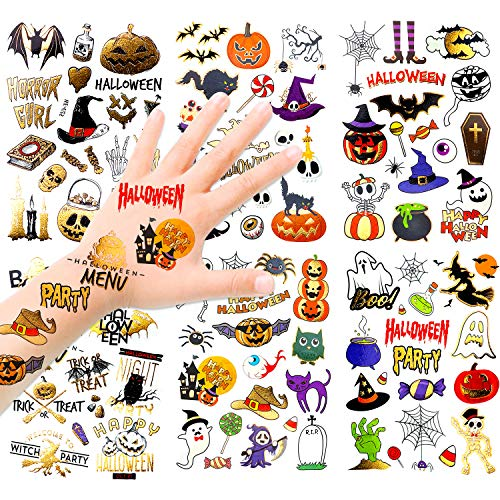 HOWAF Brillare Halloween Tatuaggi Temporanei per Bambini, Glitterati Halloween Tatuaggi Set, 120+Tatuaggi Finti Adesivi Giocattoli Gadget Tattoo per Bambini Halloween Impermeabile Temporaneo Tattoos