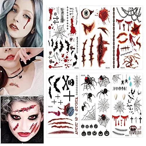symagal 6 Fogli Halloween Tatuaggi Temporanei Ferita Sanguinante Realistico Autoadesivo del Tatuaggio Finti Impermeabili Tattoo Spaventoso Decorazione del Partito di Orrore