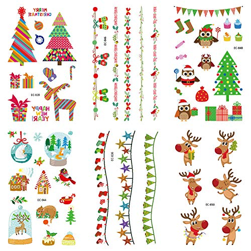Frgasgds Tatuaggi temporanei di Natale,6 Fogli Tatuaggi Natalizi Tatuaggi Natalizi per Bambini Babbo Natale Neve Jingle Bell Albero di Natale Molti Modelli Tatuaggi per Adulti Bambini Ragazze Ragazzi